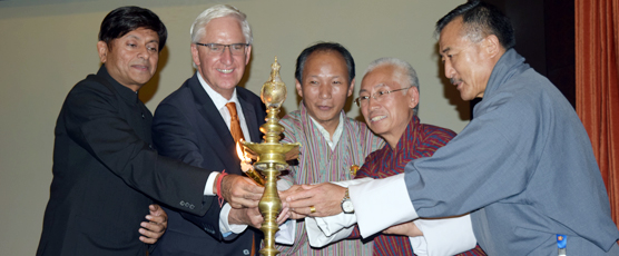 Lighting of the Inaugural lamp by Shri Pieyush Gupta Consul General of India to Bhutan adn Senior Government Officials from the Royal Government of Bhutan on occasion of Cultural Event organized by Consulate General of India