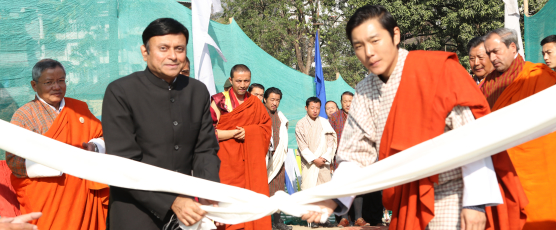 His Royal Highness Jigyel Ugyen Wangchuck and The Consul General Shri Pieyush Gupta inaugurating The Astro Turf in Phuentsholing