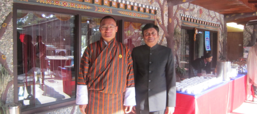Hon. Pieyush Gupta, Consul General of India with Hon. Tshering Tobgay, Prime Minister of Bhutan during Handing Over Ceremony of Gewog Utility Vehicle