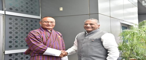 Prime Minister of Bhutan H.E. Dasho Tshering Tobgay was given a warm welcome by Gen.(Dr) V.K Singh (Retd), Minister of State for External Affairs, GOI on his arrival in New Delhi