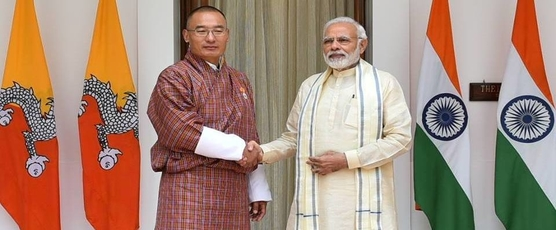 PM Narendra Modi welcomes Prime Minister of Bhutan H.E. Tshering Tobgay to India during the Golden Jubilee Year of our relationship