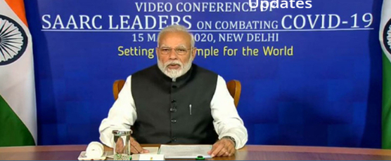 Prime Minister delivers his address during the Video Conference of SAARC Leaders on combating COVID-19 in New Delhi