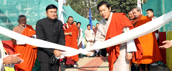 His Royal Highness Jigyel Ugyen Wangchuck and the Consul General Shri Pieyush Gupta in- augurating the Astro Turf on 21st Jan 17 in Phuentsholing
