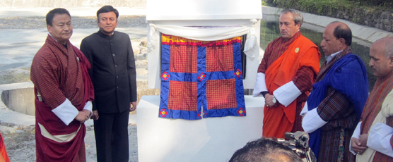 Minister ( I & C) Lympo DN Dhungyel and Consul General inaugurating GOI funded irriation canal in Samtse province on 16th Jan 17