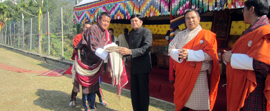 CG and Two Bhutanese Minsters Handing over 205 Boleros to Heads of Gewogs (village Block levels ) at Phuentsholing 15th Jan 17