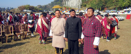 Consul General of India to Bhutan Pieyush Gupta with Lympo Namgay Dorji, Finance Minister & Lympo Dawa Gyeltshen, Home Minister of Bhutan