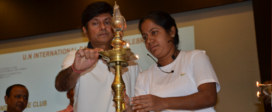 Lighting of the Inaugural Lamp by Shri Pieyush Gupta, Consul General and Ms. Sudha R. Yoga Master.
