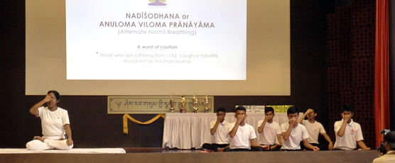 Mass Common Yoga Protocol Demonstration by Yoga Master and her Team - Nadi Shodhan Pranayam.